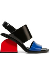 Marni Color Block Glossed Leather Slingback Sandals Bright Blue Red