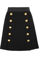 Dolce And Gabbana Stretch Wool Crepe Mini Skirt Black