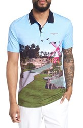 Ted Baker London Placement Trim Fit Golf Polo Blue