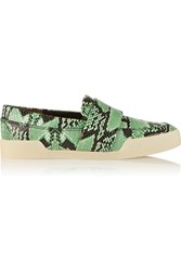3.1 Phillip Lim Morgan Snake Effect Leather Slip On Sneakers Green