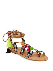 Catherine Malandrino Tribal Pom Pom Sandals Brown