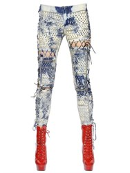 Ashish Lace Up Washed And Studded Denim Jeans