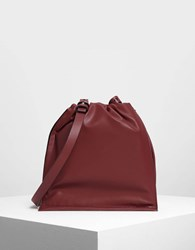 Charles And Keith Two Way Backpack Maroon