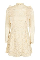 Topshop Ruffle Lace Embroidered Dress Cream