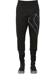 Rick Owens Virgin Wool Pants W Embroidery Black