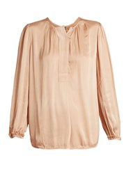 Raquel Allegra Long Sleeved Satin Blouse Nude