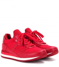 Dolce And Gabbana Lace And Leather Sneakers Red