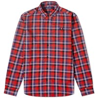 Fred Perry Authentic Multi Check Gingham Shirt Red