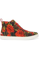 Dolce And Gabbana Floral Print Canvas High Top Sneakers Tomato Red