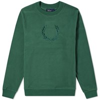 Fred Perry Embroidered Laurel Sweat Green