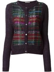 Marco De Vincenzo Rhinestone Embellishment Check Jacquard Cardigan Pink And Purple