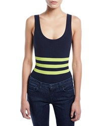 Kendall Kylie Striped Ribbed Sleeveless Bodysuit Navy