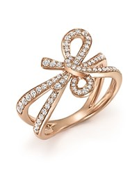 Bloomingdale's Diamond Bow Ring In 14K Rose Gold .54 Ct. T.W. White Rose