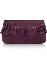 Burberry Fringed Suede Clutch Grape