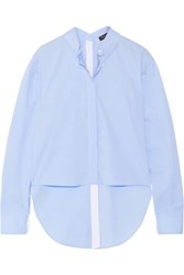 Rag And Bone Calder Asymmetric Cotton Poplin Shirt Sky Blue