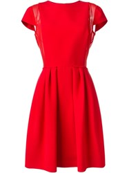 Giorgio Armani Pleated Sides Sheer Panel Detail Dress Red