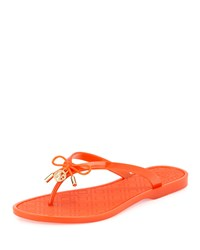 Jelly Bow Logo Charm Thong Sandal Pop Orange Tory Burch Poporg