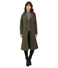 Obey Easy Rider Trench Coat Forest Army Women's Coat Black