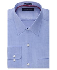 Tommy Hilfiger Men's Big And Tall Classic Fit Non Iron Solid Dress Shirt Blue