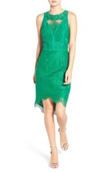 Adelyn Rae Women's Lace High Low Sheath Dress Green