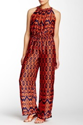 Romeo And Juliet Couture Printed Wide Leg Jumpsuit Blue