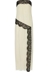 Wes Gordon Strapless Lace And Crepe Gown
