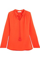 Michael Michael Kors Embroidered Hammered Crepe Blouse Bright Orange