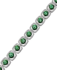 Arabella Sterling Silver Green And White Swarovski Zirconia Cushion Cut Bracelet 39 7 8 Ct. T.W. Clear