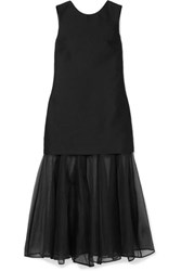 Maggie Marilyn Find Strength In Your Identity Crepe And Silk Chiffon Midi Dress Black