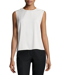 Halston Heritage Sleeveless Draped Back Top Bone Ivory