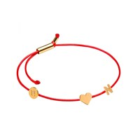 Tadam Gold Heart And Letter N Memory Bracelet Red