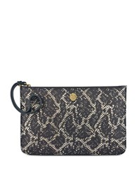 Anne Klein Embossed Snakeskin Large Pouch Black Gold