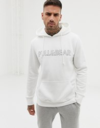 Pull And Bear Logo Hoodie In White White
