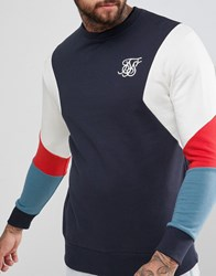 Sik Silk Siksilk Retro Sweatshirt In Navy With Contrast Sleeves