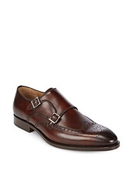 Saks Fifth Avenue By Magnanni Leather Monk Strap Brogue Shoes Mid Brown