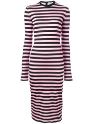 Givenchy Striped Jersey Dress Women Spandex Elastane Viscose 38 Pink Purple