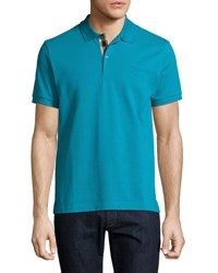 Burberry Short Sleeve Pique Polo Shirt Turquoise