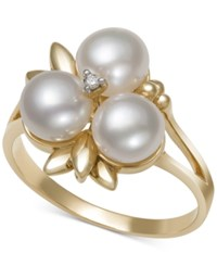 Belle De Mer Cultured Freshwater Pearl 6Mm And Diamond Accent Ring In 14K Gold Only At Macy's White