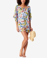 Anne Cole Studio Brigitte Floral Print Crochet Trim Cover Up Swimsuit Multi
