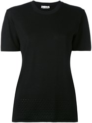Paco Rabanne Knitted Short Sleeve Top Women Silk Polyamide Wool L Black