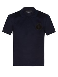 Alexander Mcqueen Logo Embroidered Polo Shirt Navy