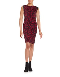 Anne Klein Printed Sheath Dress Red