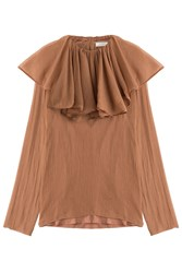 Nina Ricci Silk Crepe Blouse With Ruffled Collar Brown