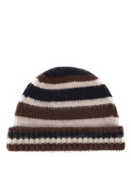 Marni Striped Wool Beanie Hat Brown Multi