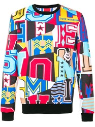 Love Moschino All Over Print Graphic Sweatshirt Blue