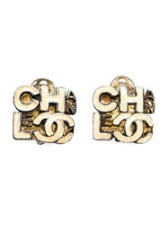 Chanel Vintage Enamel Logo Earrings White
