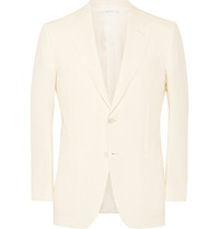 Dunhill Cream Belgravia Slim Fit Linen Blazer White
