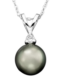Macy's Tahitian Cultured Pearl 8Mm And Diamond Accent Pendant Necklace In 14K White Gold