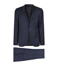 Valentino Slim Fit Micro Houndstooth Suit Male Navy