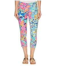Lilly Pulitzer Upf 50 Luxletic Weekender Cropped Pant Seaside Aqua Breezy Babe Women's Casual Pants Blue